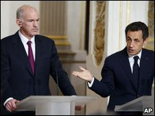 Greek Prime Minister Papandreou and French President Sarkozy