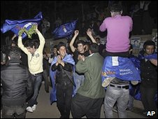 Iraqis dance after voting in Sulaimaniya