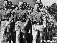 Boys from one of Hitler's Nazi youth camps marching in formation