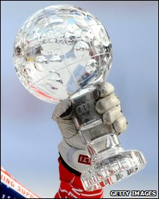 "Alpine skiing's ""crystal globe"" World Cup trophy"