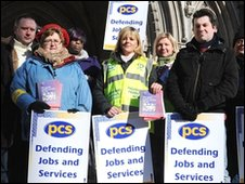 Staff from the Royal Courts of Justice on strike