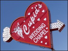 Sign for wedding chapel, BBC