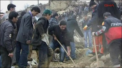 Villagers digging after earthquake