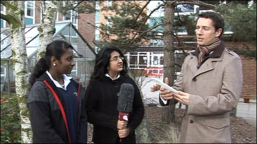 Two students from Ellen Wilkinson School with BBC Weather presenter Alex Deakin
