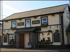 The Stag pub in Five Roads, Llanelli where the lottery winner is now the landlady