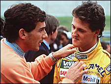 Ayrton Senna and Michael Schumacher in 1992