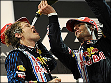 Red Bull drivers Sebastian Vettel and Mark Webber