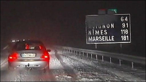 Snowy motorway in France