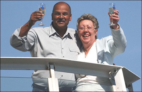 Ken Henry and Sandra Fosbrooke celebrating their Lotto win
