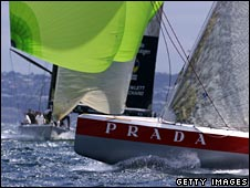 Prada and AmericaOne in 2000 America's Cup yacht race