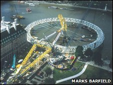 London Eye being installed