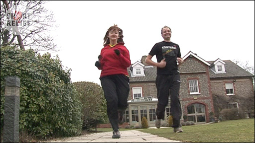 Karen Buchanan and Galton Blackiston training for their Sport Relief Mile