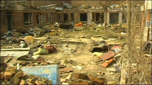The aftermath of a bombed guest house