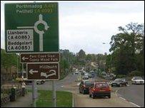 Ffordd yr A487 yng Nghaernarfon
