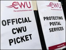 Royal Mail picket line signs (file photo)