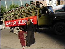 Chinese armed police in Urumqi, Xinjiang region, China - 9 July 2009