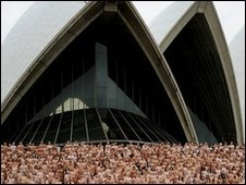 Naked people in front of Sydney Opera House, Australia (1 March 2010)