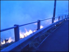 Grass fire close to road in Rhondda Valley on Monday evening