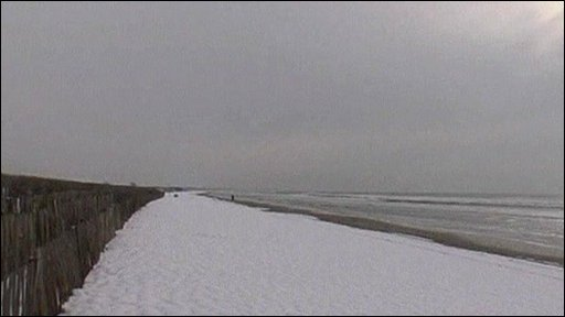 Snow-covered beach on French Riviera