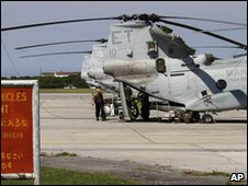 US helicopter at Futenma airbase in Okinawa on 5 March 2010