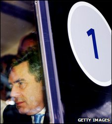 Gordon Brown on a first class carriage