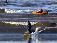 Surfers at Severn Bore