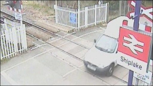 Driving across level crossing