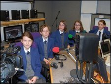 Students from The King's School, Macclesfield in BBC Studio