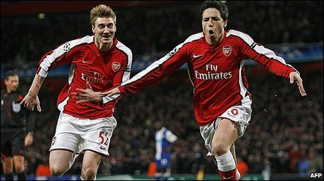Nicklas Bendtner and Samir Nasri