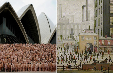 Naked people in front of Sydney Opera House; Lowry's Coming From The Mill (1930)