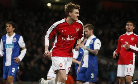 Nicklas Bendtner (centre) scored a hat-trick against Porto