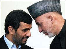 Mahmoud Ahmadinejad and Hamid Karzai, 10 March