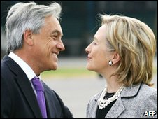 Sebastian Pinera meeting with US Secretary of State Hilary Clinton