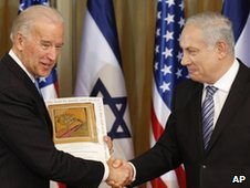 US Vice President Joe Biden, left,  with Israel's Prime Minister Benjamin Netanyahu in Jerusalem, Tuesday, March 9, 2010