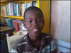 Bernaldo, 12 at his new Haiti school