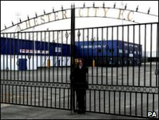 The gates are closed at the Deva Stadium, home of Chester City Football Club