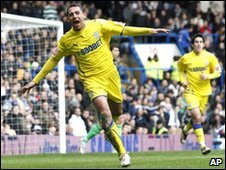 Cardiff City's Michael Chopra celebrates his goal against Chelsea