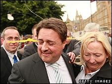 Nick Griffin is pelted with eggs