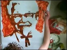 Colonel Sanders portrait using ketchup