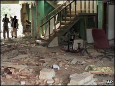 The damaged offices of World Vision
