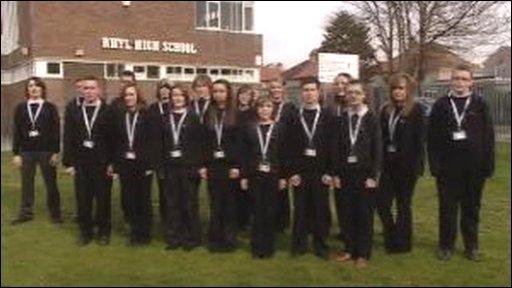 Pupils from Rhyl High School
