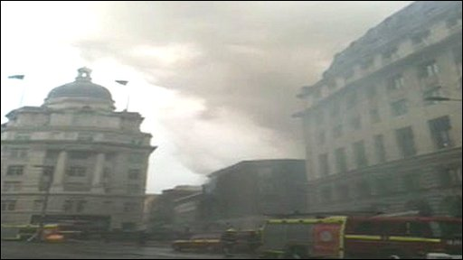 Fire at Tabernacle Street in the City of London