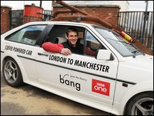 Bang Goes The Theory presenter Jem Stansfield in coffee-powered car