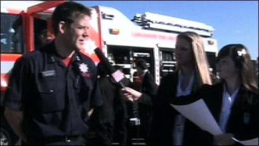 Heysham High School reporters interview Mark Monkhouse from Lancashire Fire and Rescue Service