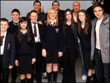 Hollyoaks star, right,  poses with Grange Comprehensive School Reporters
