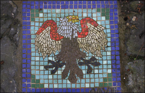 An eagle's mosaic in the sensory garden created by local school children