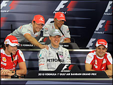 Left to right: Fernando Alonso, Jenson Button, Michael Schumacher, Lewis Hamilton, Felipe Massa.