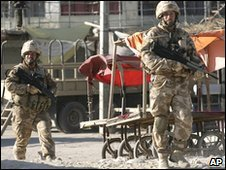 British soldiers patrol in Musa Qala