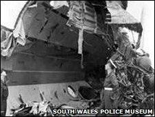 Interior of Tudor V following Llandow air crash, Vale of Glamorgan, 1950