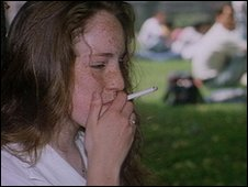 Teenage girl smoking a cigarette